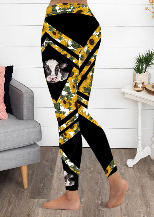 Sunflower American Flag Cowhead Activewear Sports Leggings - Black