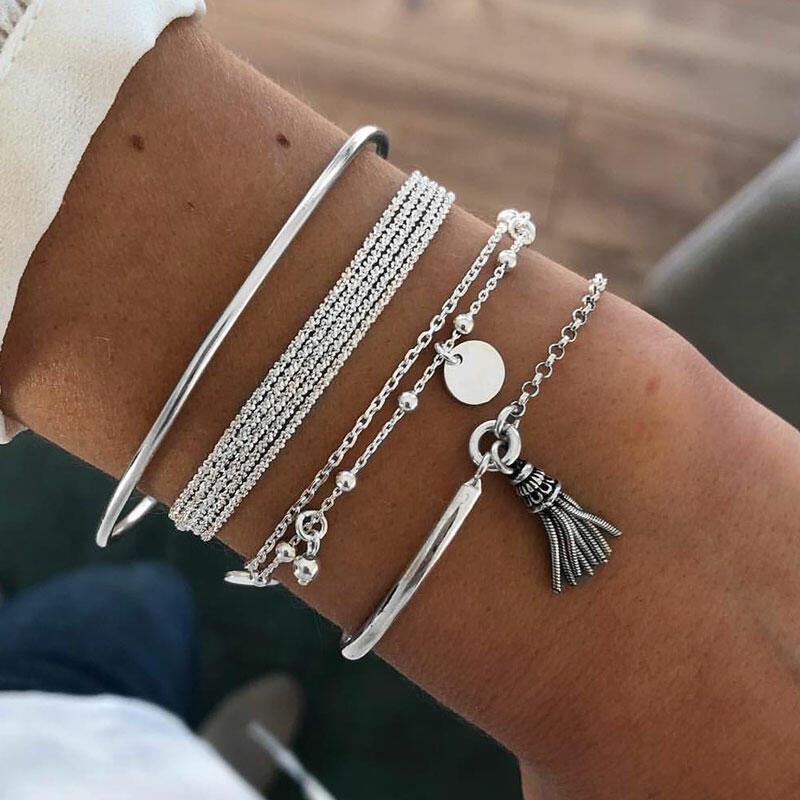 4Pcs Alloy Tassel Pendant Bracelet Set