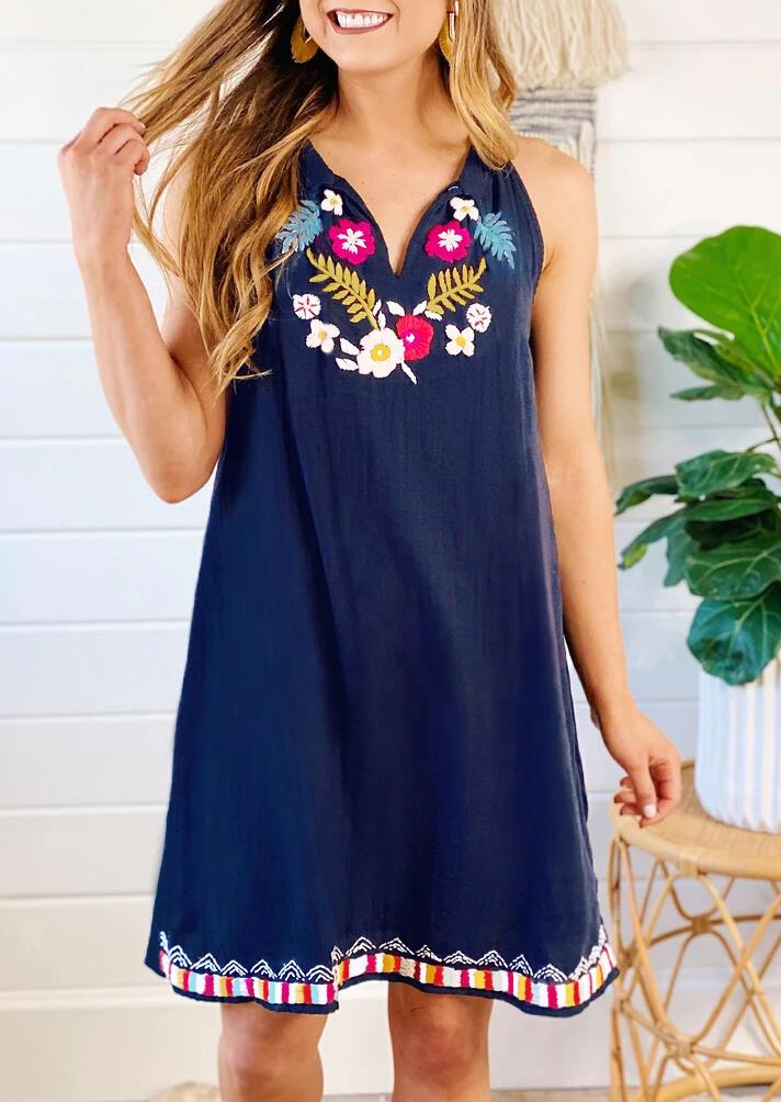 Floral Sleeveless V-Neck Mini Dress - Deep Blue