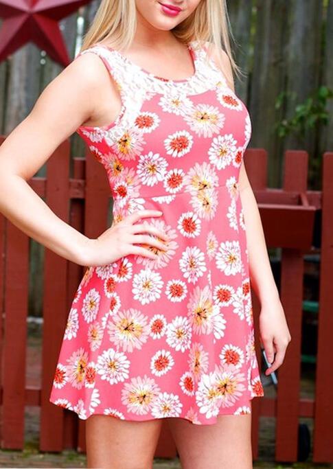 Daisy Lace Splicing Sleeveless Mini Dress - Pink