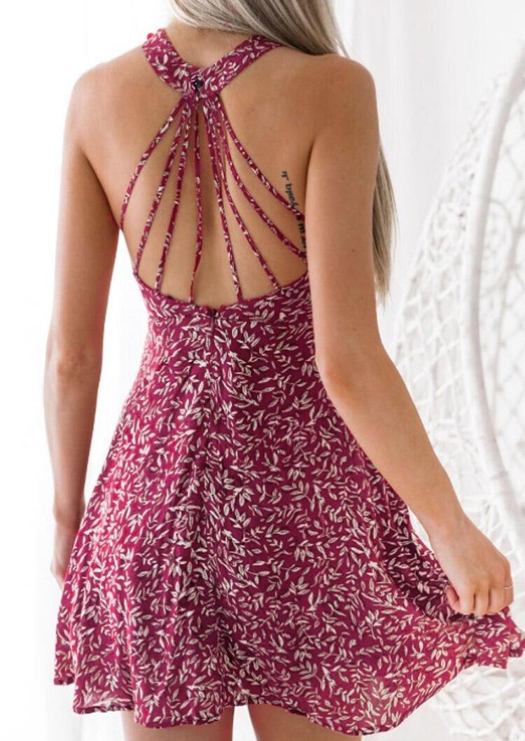 Floral Hollow Out Mini Dress - Plum