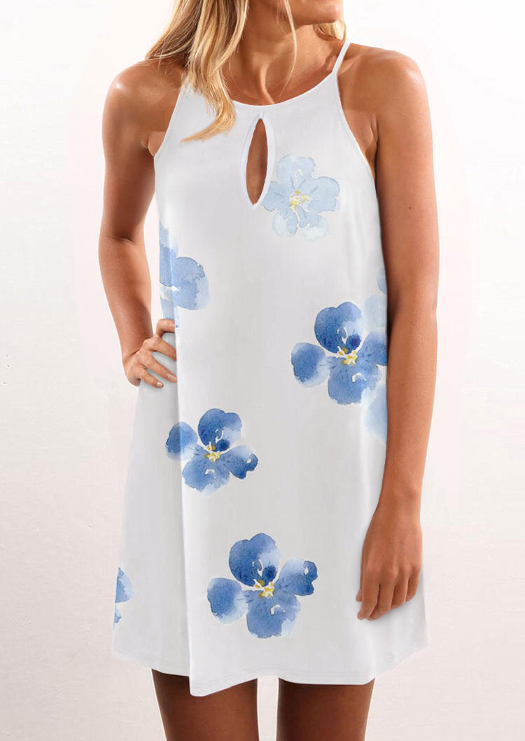 Floral Hollow Out Halter Mini Dress - White