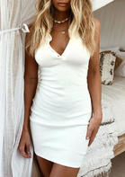 Button Open Back Halter Bodycon Dress without Necklace - White