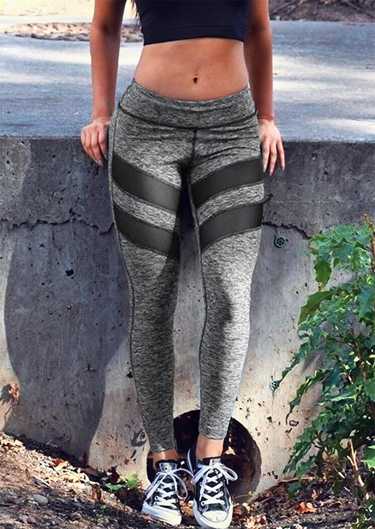 Color Block Mesh Splicing Yoga Fitness Activewear Leggings - Gray
