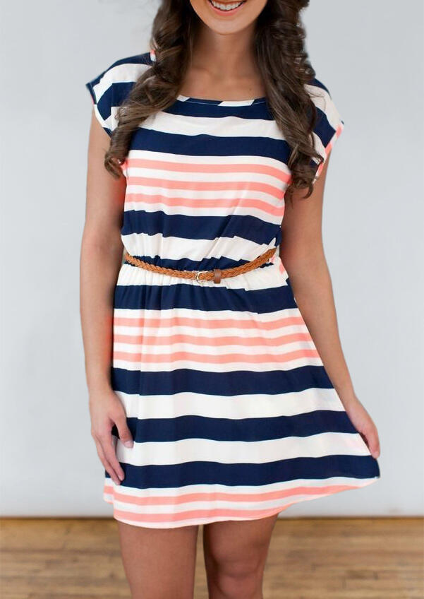 Colorful Striped Splicing Mini Dress without Belt