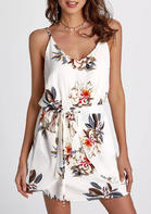 Floral Ruffled Tie Mini Dress without Necklace - White