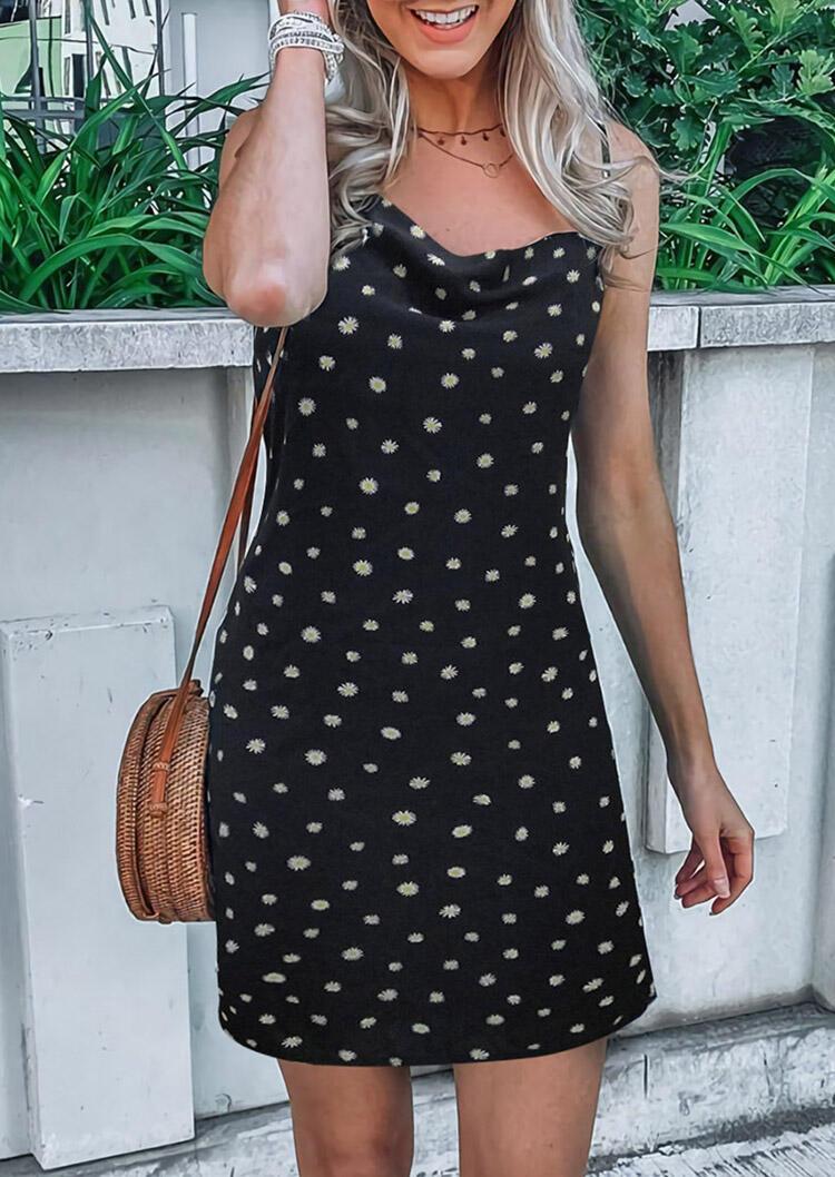 Daisy Spaghetti Strap Mini Dress without Necklace - Black