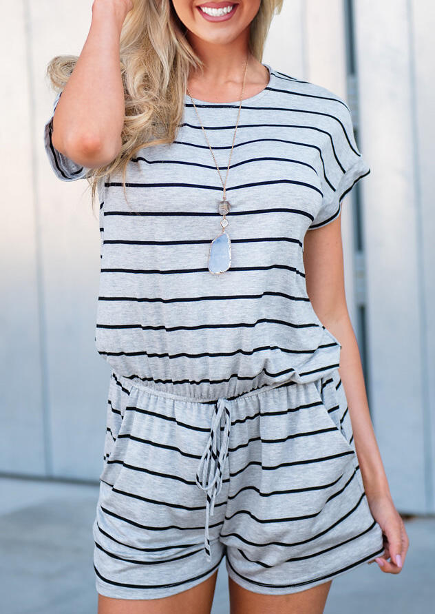 Striped Splicing Drawstring Pocket Romper without Necklace
