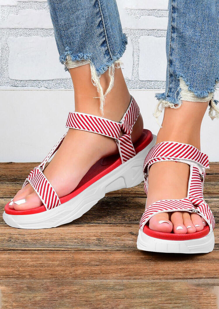 Striped Hollow Out Round Toe Wedged Sandals - Red