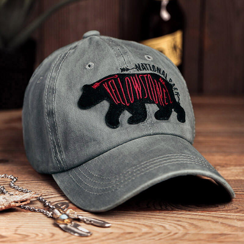 Yellowstone National Park Distressed Embroidered Baseball Cap