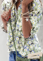 Floral Button Elastic Cuff Blouse - Light Green