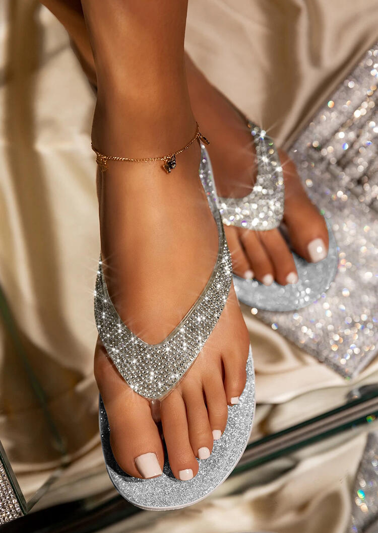 Rhinestone Flip Flop Slippers without Anklet - Silver