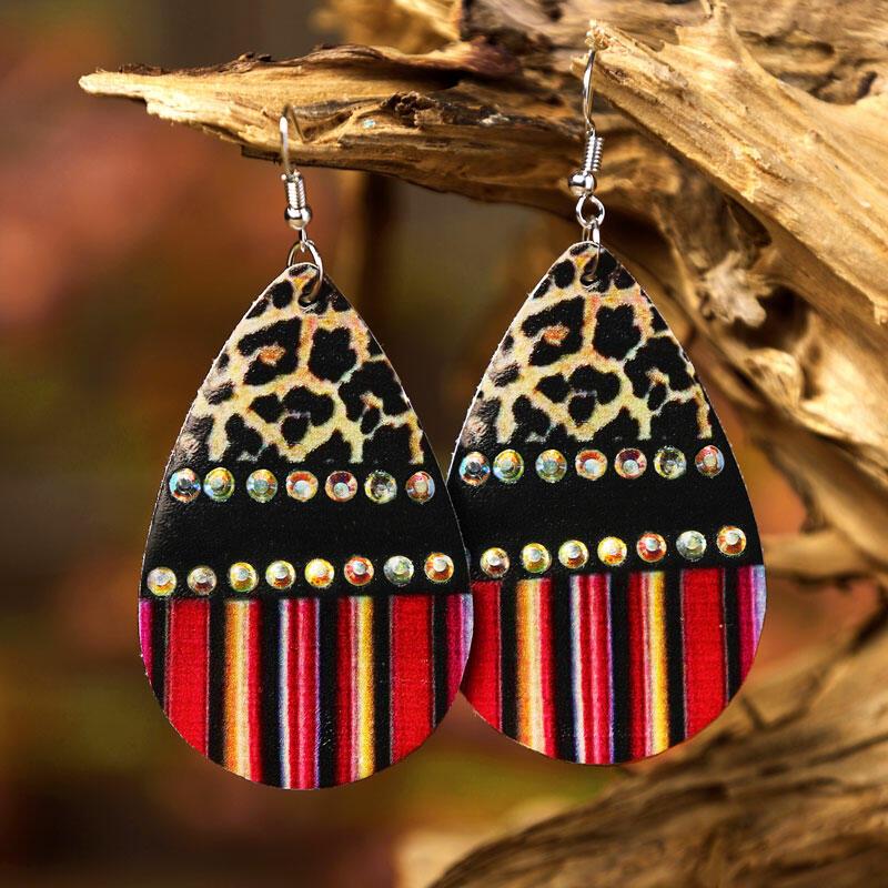 Leopard Colorful Serape Striped Splicing Rhinestone Earrings