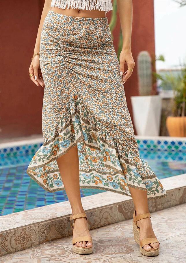 Bohemian Floral Ruffled Asymmetric Long Skirt
