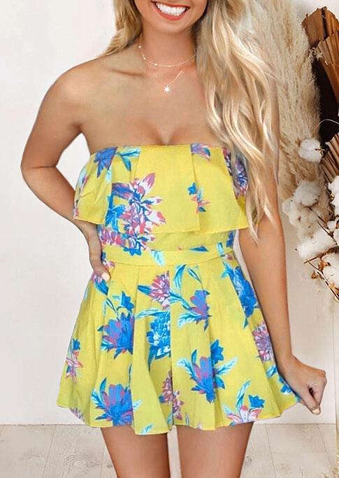 Floral Layered Ruffled Romper without Necklace - Yellow