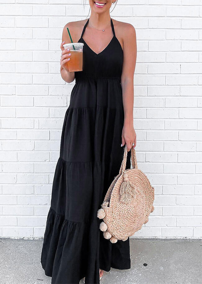 Ruffled Halter Tie V-Neck Maxi Dress without Necklace - Black