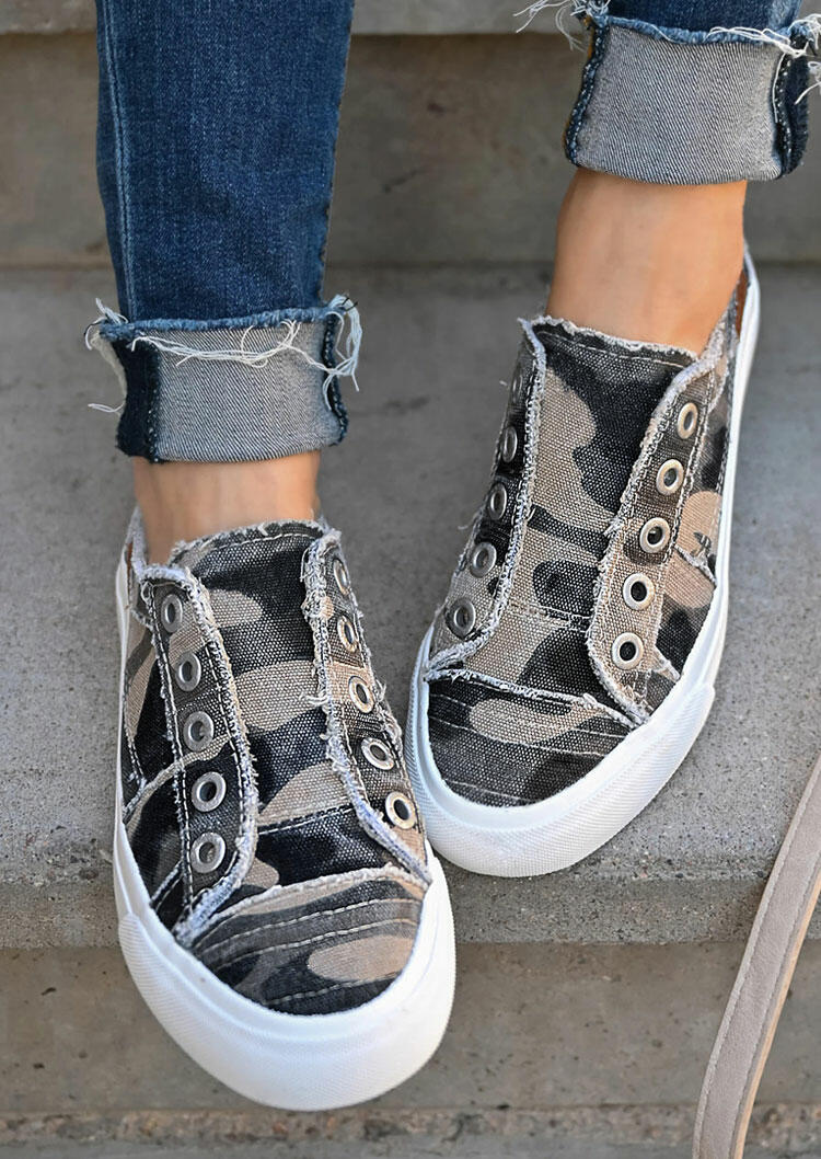 Camouflage Slip On Round Toe Flat Sneakers