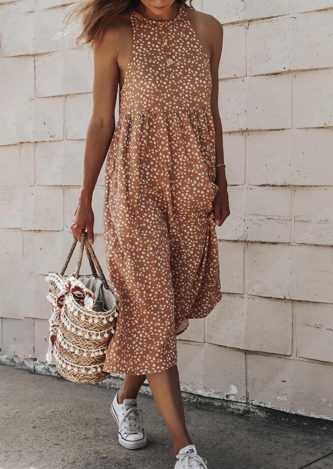 Leopard Ruffled Button Open Back Halter Maxi Dress - Light Brown
