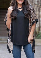 Leopard Splicing Batwing Sleeve Cardigan