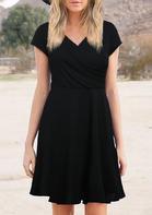 Wrap Ruffled V-Neck Mini Dress - Black