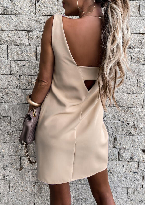 Cut Out Open Back Mini Dress - Apricot