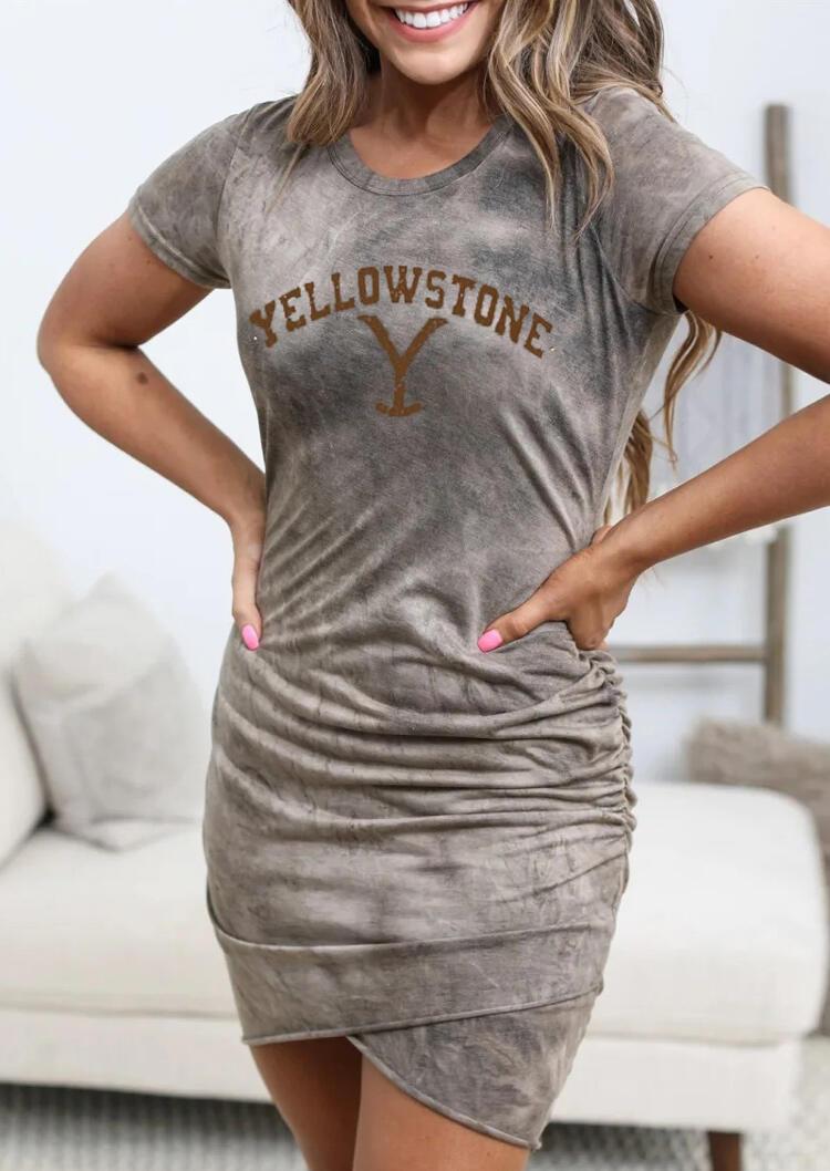 Yellowstone Tie Dye Ruffled Bodycon Dress - Light Grey