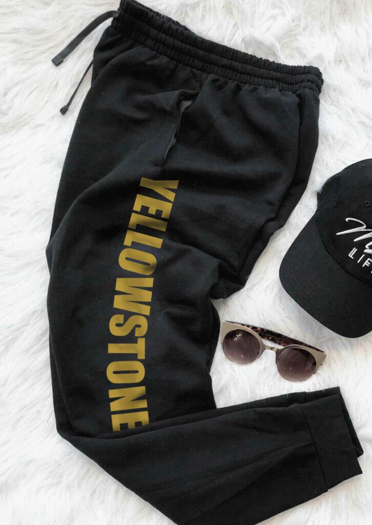 Yellowstone Pocket Drawstring Sports Pants - Black