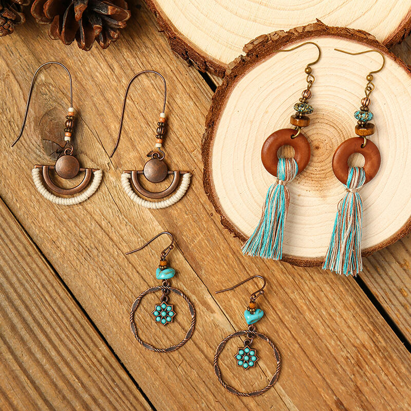 3 Pairs Bohemian Tassel Hollow Out Beading Earrings Set