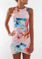 Presale - Floral Ruffled Hollow Out Sleeveless Bodycon Dress