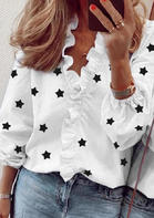 Star Ruffled V-Neck Blouse - White