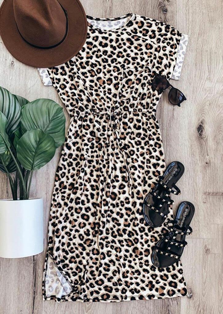 Leopard Slit Drawstring Casual Dress