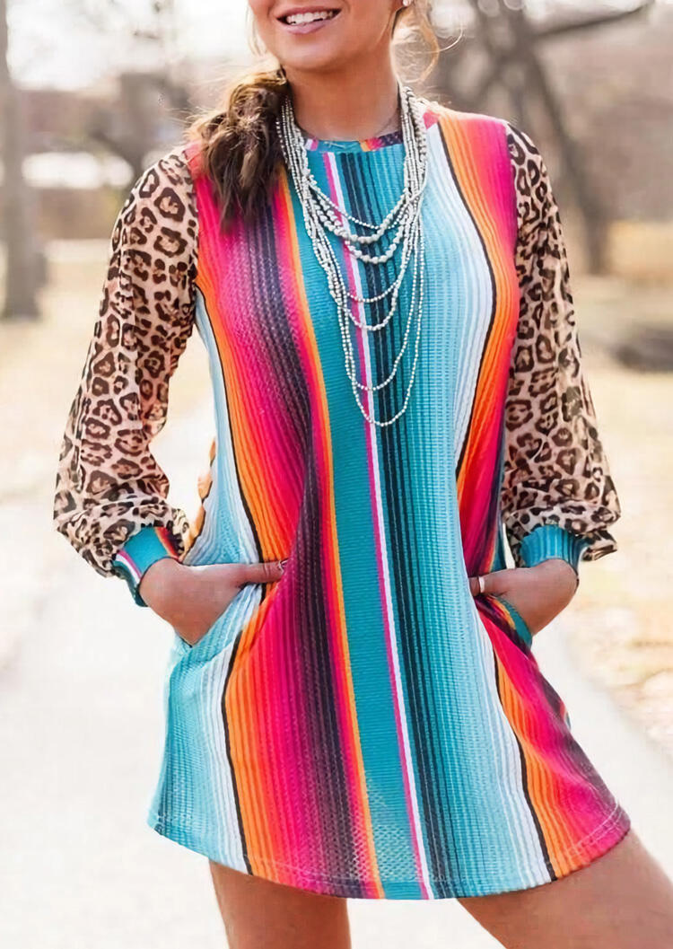 Colorful Serape Striped Splicing Leopard Pocket Mini Dress without Necklace