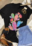 Cactus Paisley Floral O-Neck T-Shirt Tee - Black