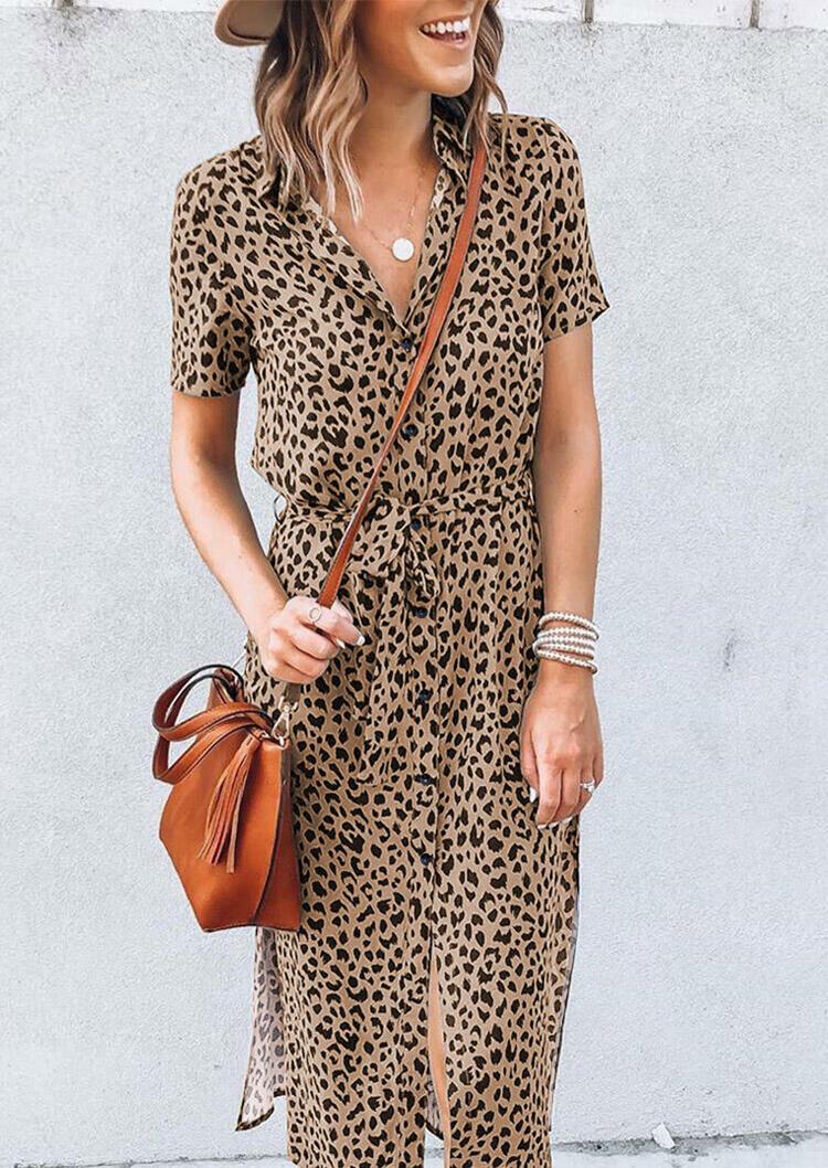 Leopard Slit V-Neck Casual Dress without Necklace