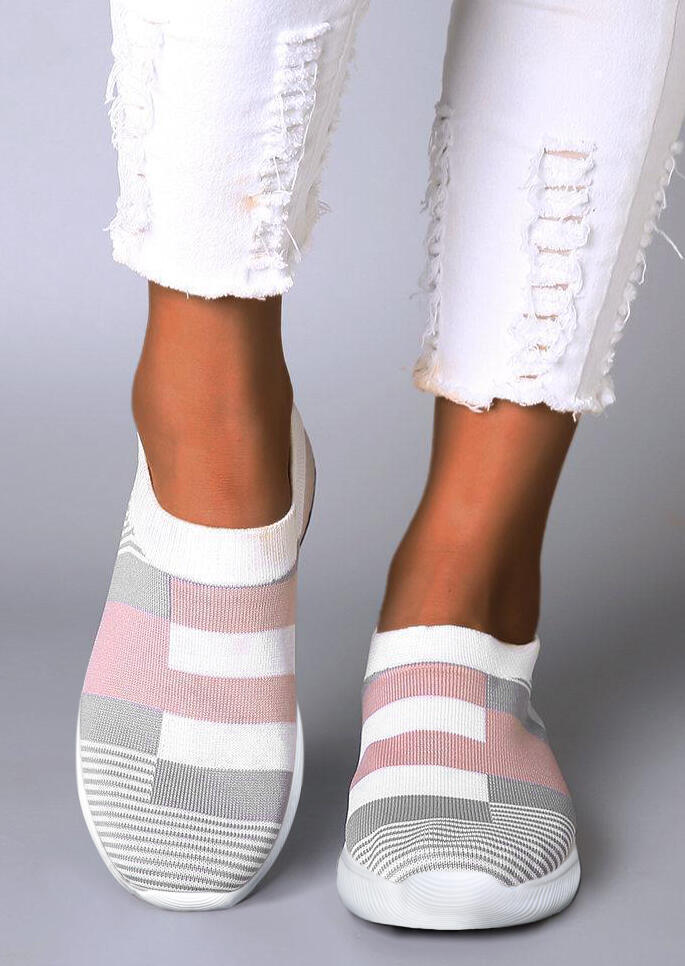 Breathable Striped Color Block Flat Sneakers
