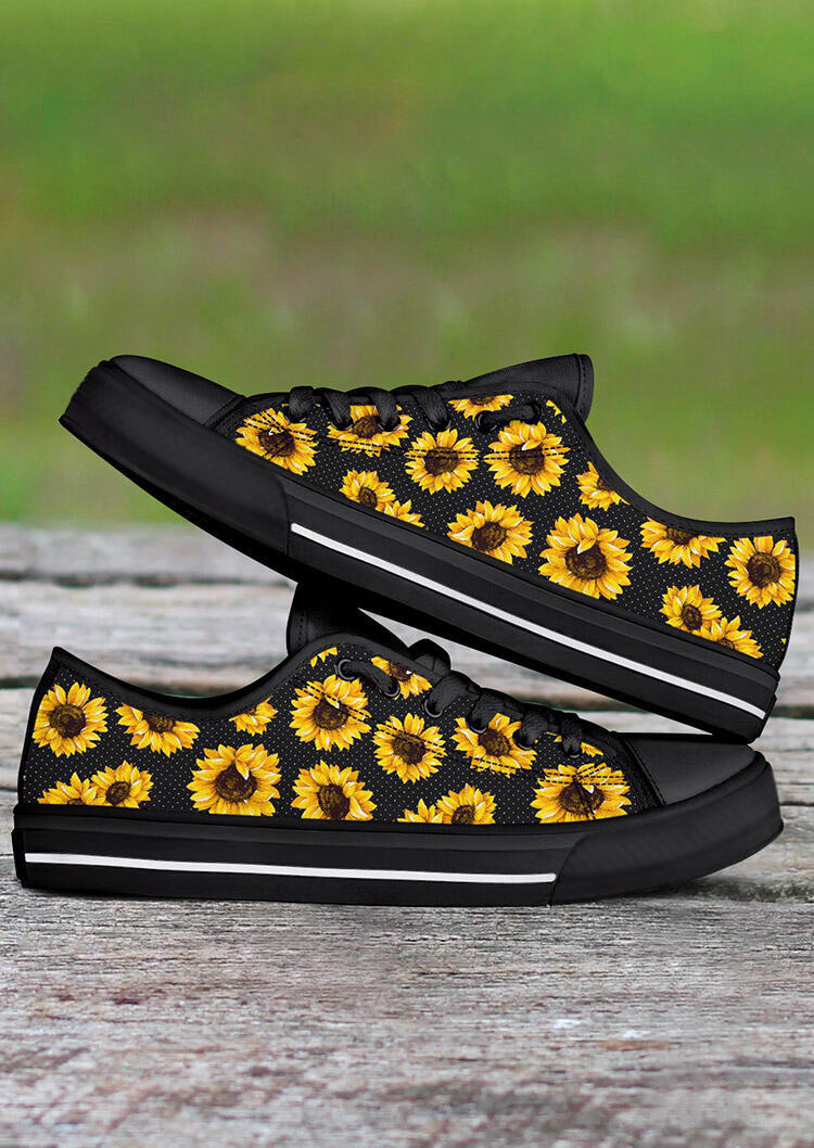Sunflower Lace Up Flat Sneakers - Black