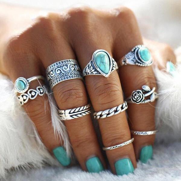 10Pcs Bohemian Turquoise Rose Ring Set
