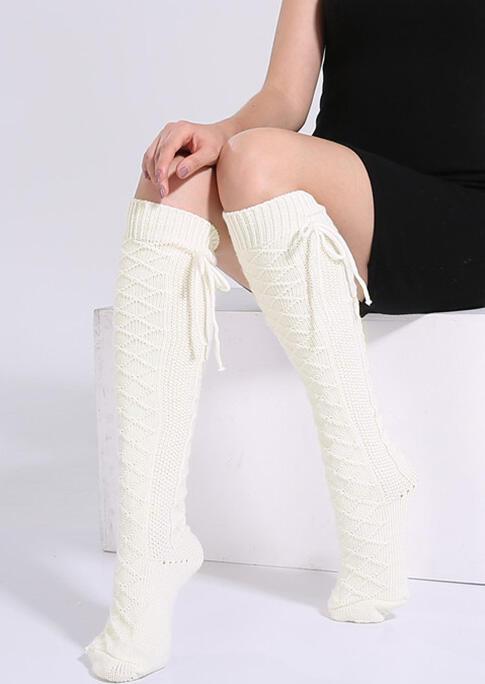 Bowknot Winter Leg Warmers Knitted Long Socks