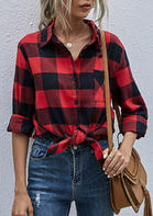 Plaid Pocket Slit Long Sleeve Shirt - Red
