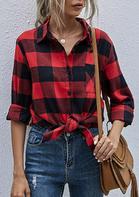 Plaid Pocket Slit Long Sleeve Shirt - Red