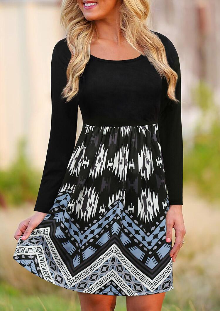 Aztec Geometric Splicing Mini Dress - Black