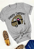 Happy Camper Leopard T-Shirt Tee - Gray