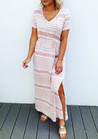 Colorful Striped Tie Slit Maxi Dress