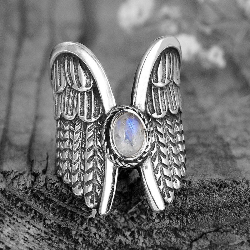 Vintage Oval Stone Angel Wing Ring