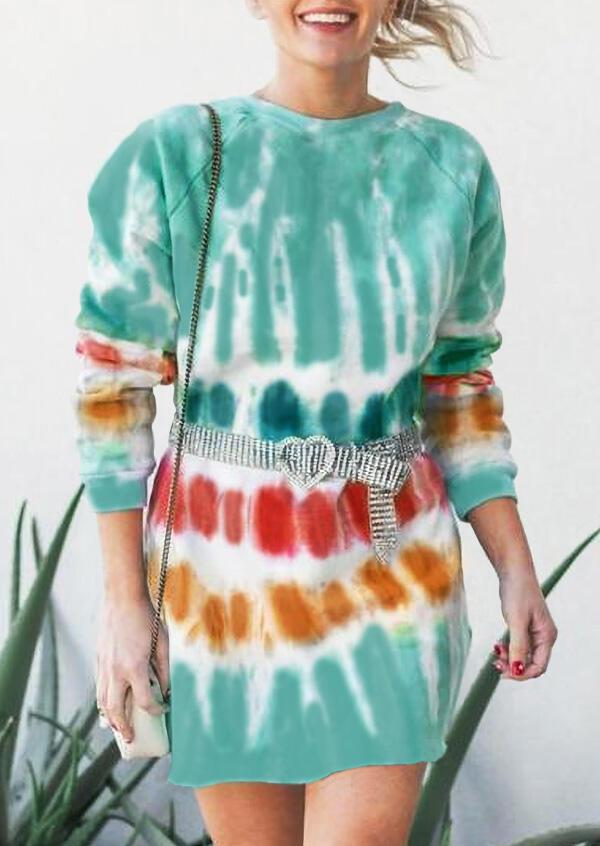 Gradient Tie Dye O-Neck Mini Sweatshirt??Dress