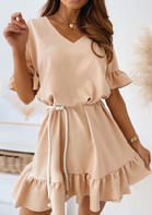 Ruffled V-Neck Mini Dress - Khaki