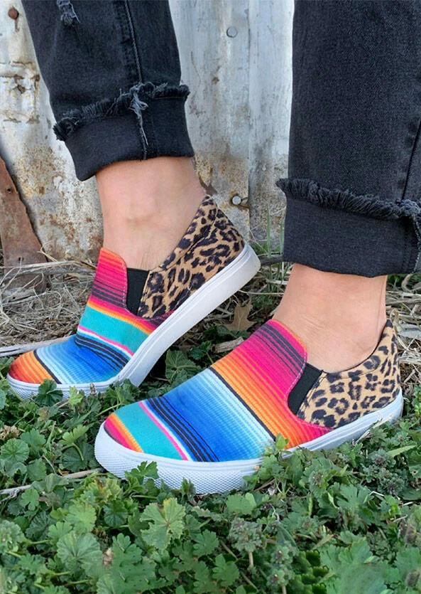 Leopard Serape Striped Splicing Canvas Sneakers