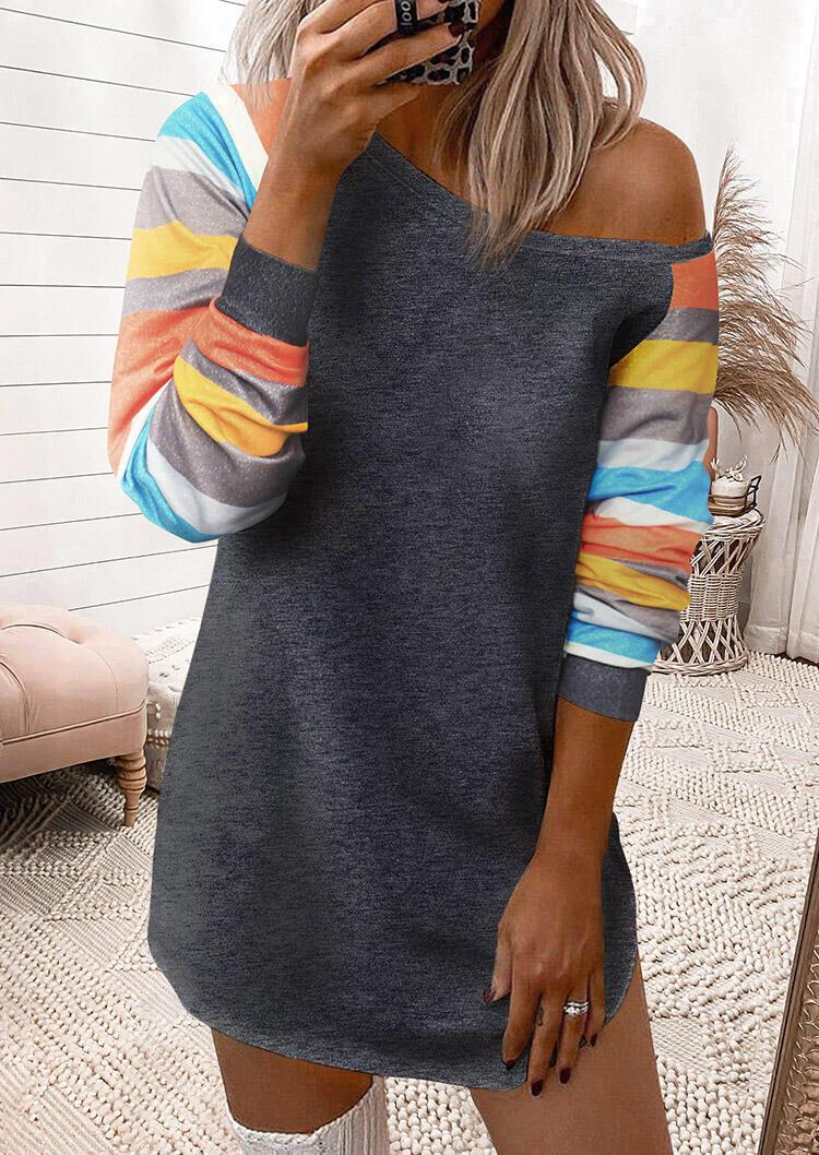 Colorful Striped Splicing Sleeve Mini Dress - Dark Grey