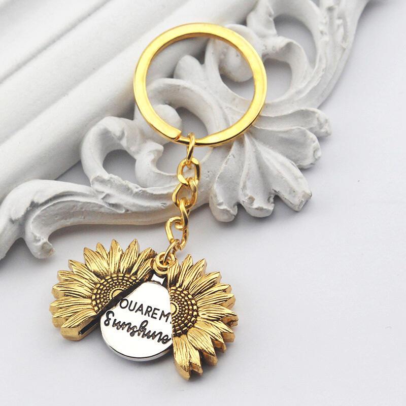 You Are My Sunshine Sunflower Keychain