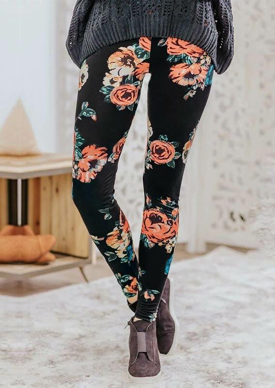 Floral Elastic Waist Skinny Leggings - Black